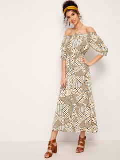 Off Shoulder Patchwork Polka-dot Print Dress