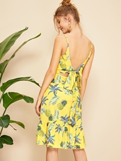 Tropical Print Flippy Hem Slip Dress