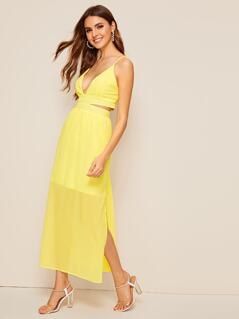 Deep V Neck Slit Hem Slip Dress