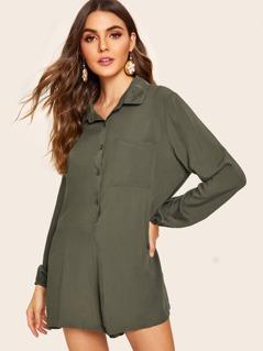 Button Front Pocket Patch Shirt Jumpsuit