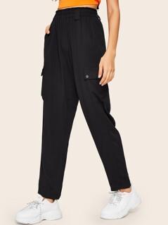 Frill Waist Flap Pocket Tapered Pants
