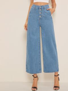 Button Fly Wide Leg Denim Jeans