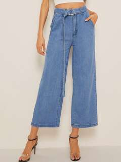 Ring Belted Wide Leg Denim Jeans