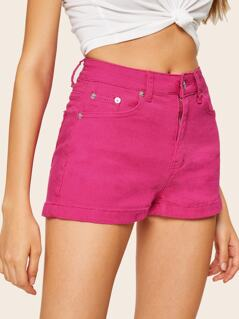 Solid 5-pocket Denim Shorts