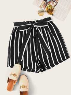 Vertical Striped Belted Shorts