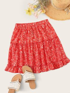 Plants Print Layered Ruffle Skater Skirt