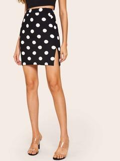 Polka-dot Print Slit Hem Skinny Skirt