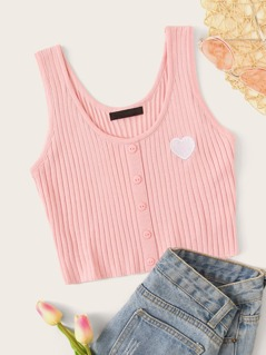 Button Front Rib-knit Patch Tank Top