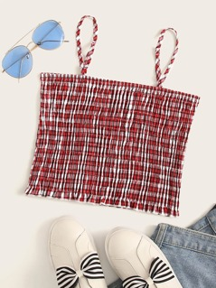 Frill Hem Shirred Gingham Cami Top
