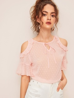 Tie Neck Ruffle Trim Cold Shoulder Jacquard Top