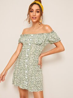 Off Shoulder Button Up Ditsy Floral Bustier Dress