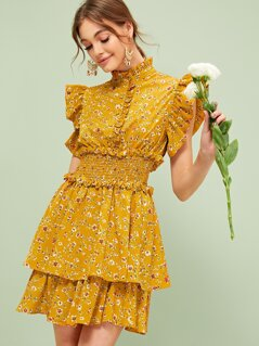 Half Placket Shirred Waist Layered Ditsy Floral Dress