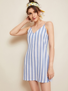 Double V-neck Two Tone Slip Dress