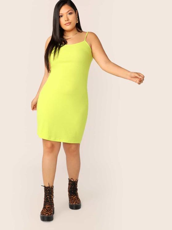 Plus Neon Yellow Rib-knit Bodycon Cami Dress