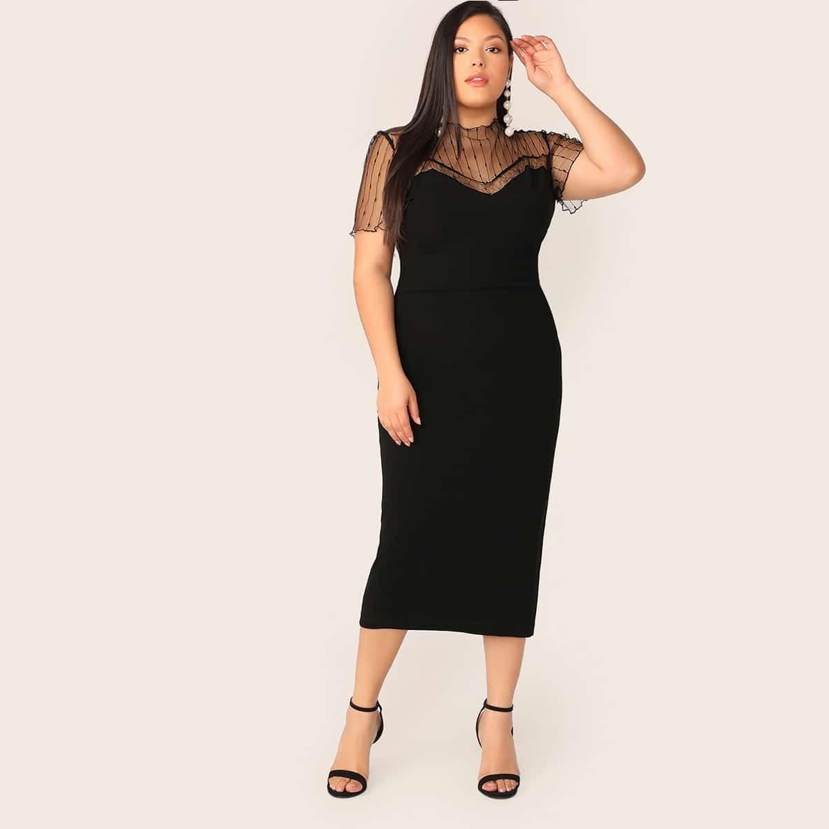Zwart Feest Vlak Grote maten jurken Contrast mesh
