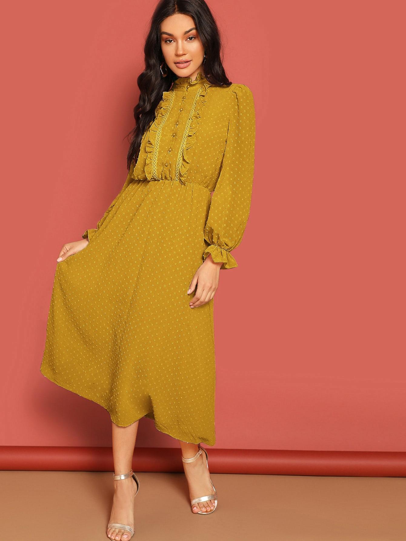 Фото - Платье с оригинальным рукавом и пуговицами от SheIn цвет жёлтые