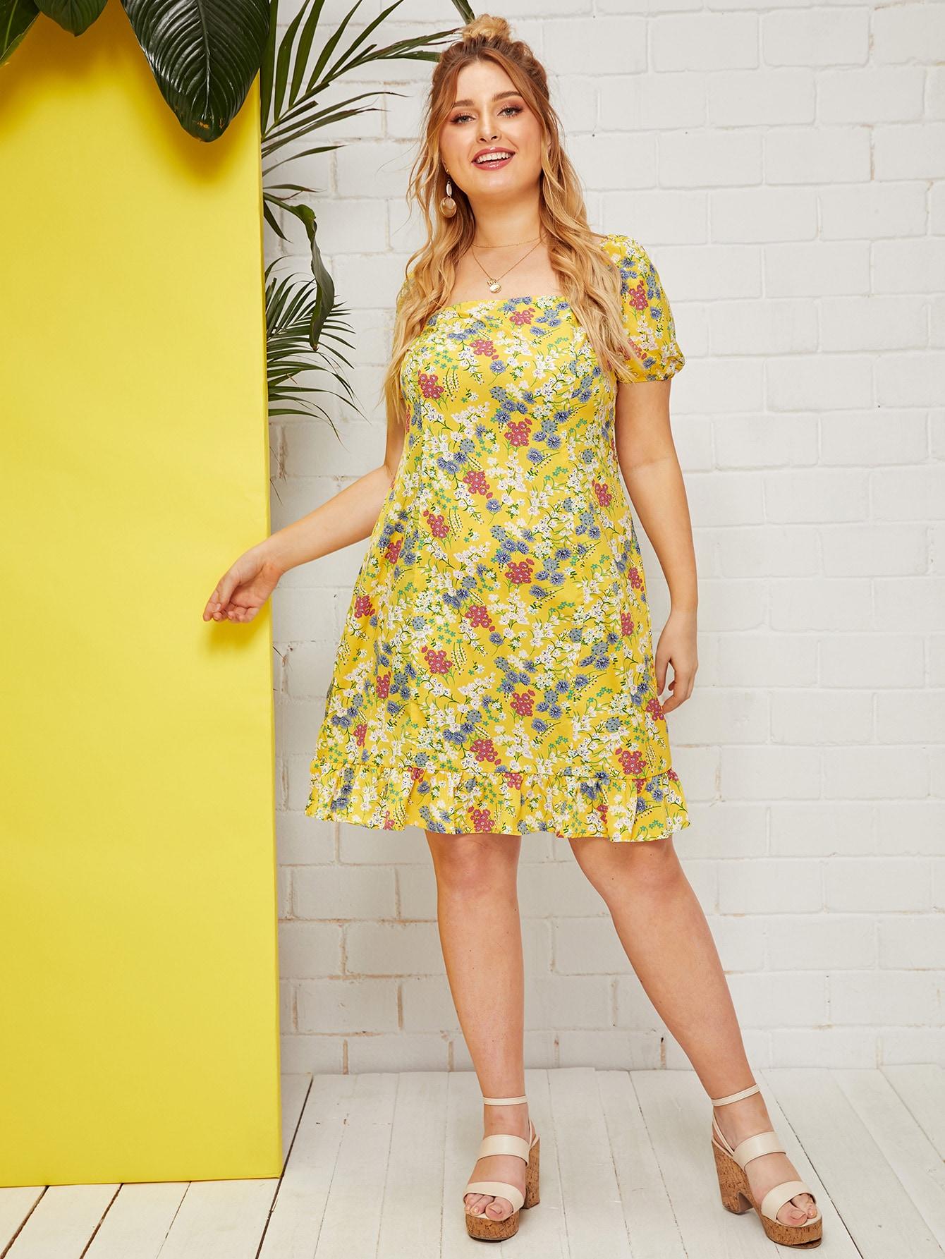Фото - Платье с оборкой и оригинальным рукавом размера плюс от SheIn цвет жёлтые