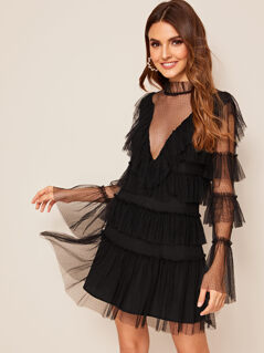 Layered Ruffle Dot Mesh Dress