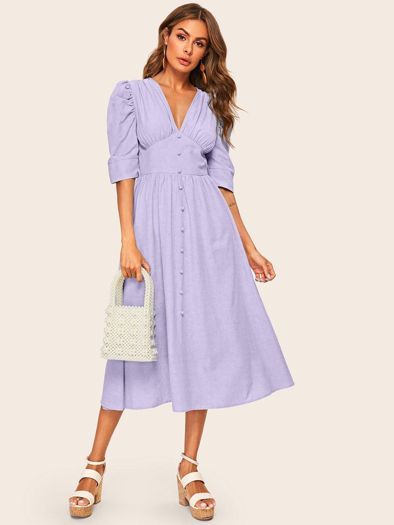 Фото - Платье с поясом, оригинальным рукавом и пуговицами от SheIn цвет фиолетовые