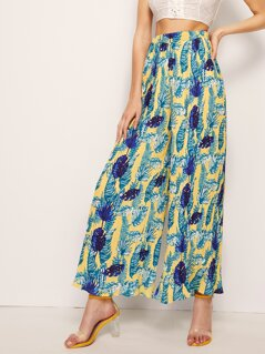 Tropical Wide Waistband Pleated Palazzo Pants