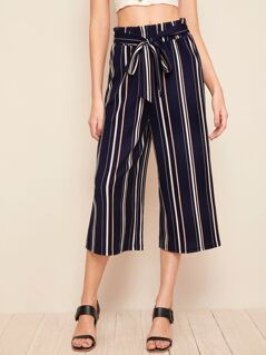 Paperbag Waist Striped Culotte Pants With Belt