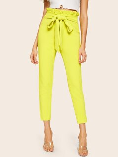 Neon Yellow Paperbag Waist Self Belted Pants