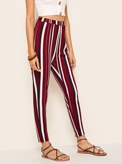 Elastic Waist Striped Cigarette Pants