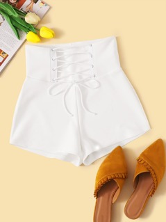 High Waist Lace Up Tie Front Shorts
