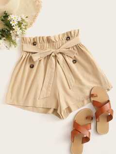 Paperbag Waist Double Breasted Detail Shorts