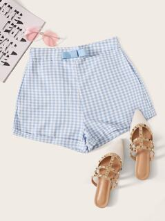 Bow Detail Rolled Hem Gingham Shorts