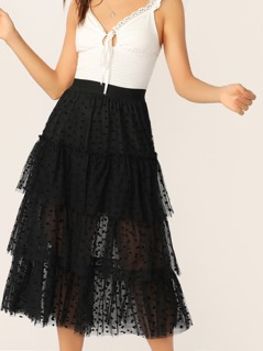 Wide Waist Frill Trim Layered Tulle Skirt