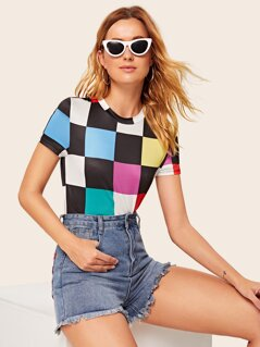 Colorful Checkerboard Print Tee