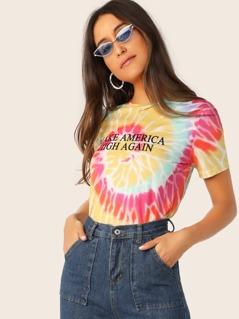 Spiral Tie Dye & Slogan Print Top