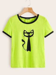 Neon Lime Cat Print Ringer Tee