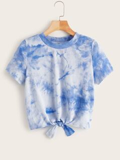 Tie Dye Knot Front Rib-knit Tee