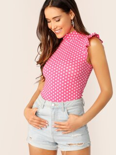 Neon Pink Ruffle Armhole Polka Dot Mock Neck Top