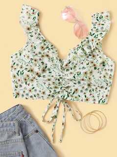 Ditsy Floral Drawstring Front Shirred Crop Top