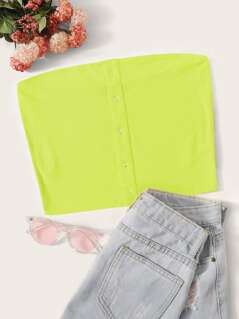 Neon Lime Snap Button Front Ribbed Bandeau Top