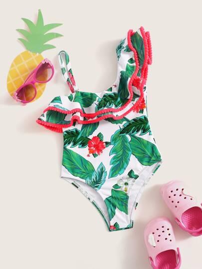79928b4233012 ملابس سباحة قطعة واحدة عير متماثل نمط استوائي عشوائي للبنات الصغار