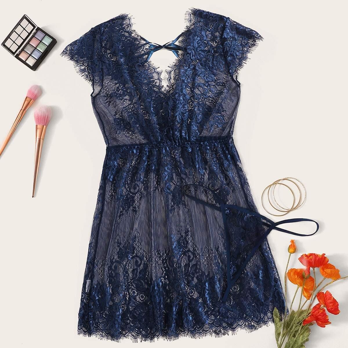 Wimper kanten jurk met string