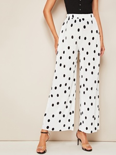 Polka Dot Print Wide Leg Pleated Pants
