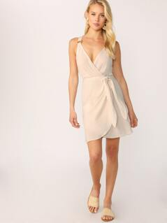 Surplice Neck Sleeveless Ring Detail Tie Dress