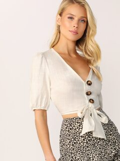 V-Neck Button Front Tie Hem Short Sleeve Crop Top
