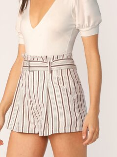 Belted Waist Side Pockets Stripe Shorts