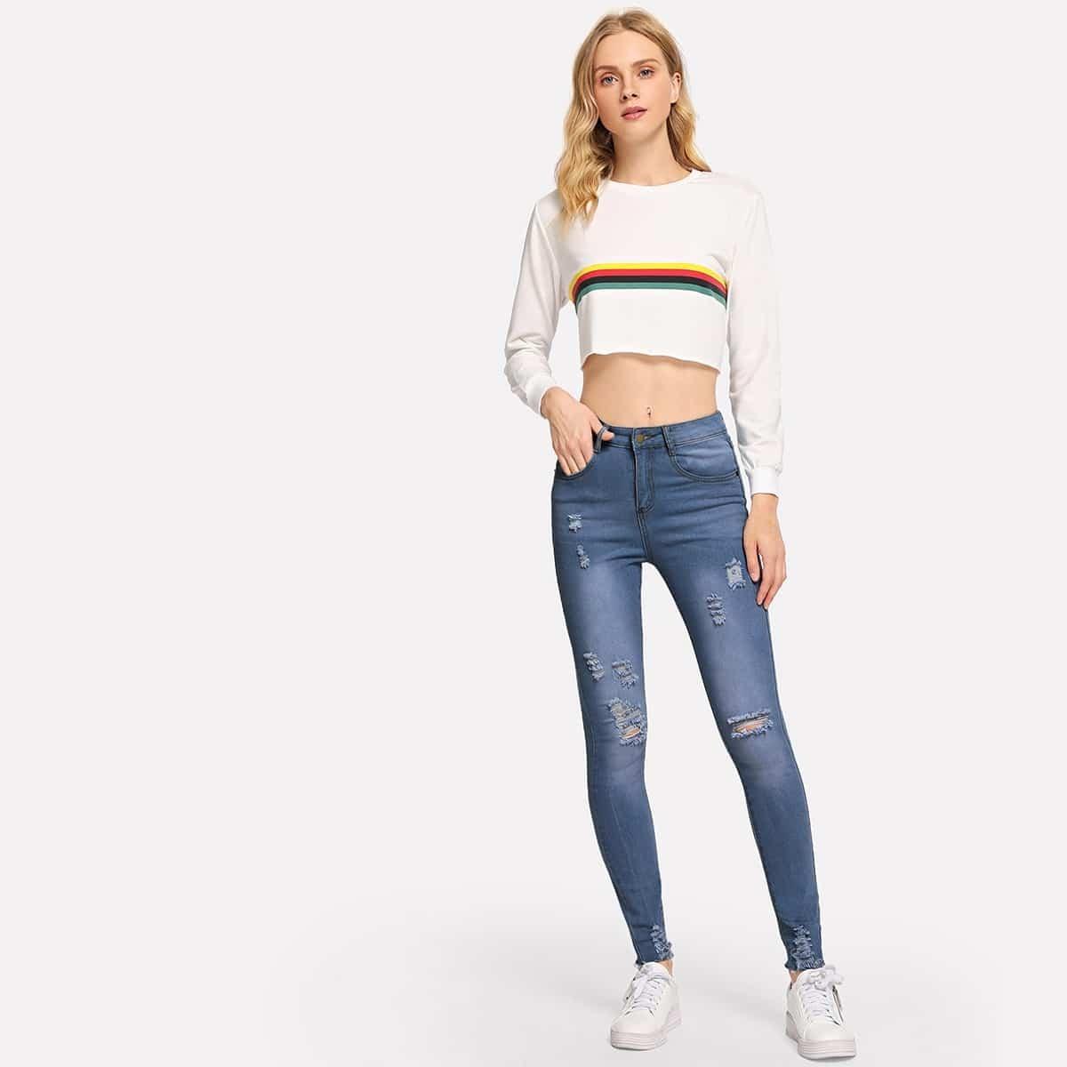 Blauw Casual Vlak jeans Gescheurd