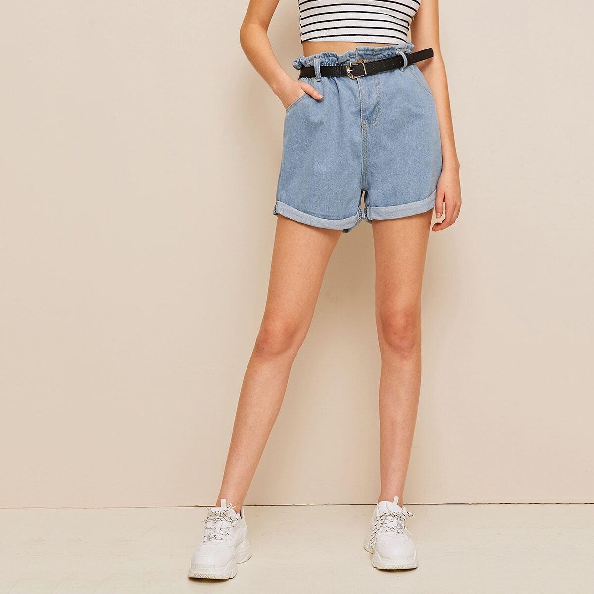 Blauw Casual Vlak Denim shorts Riem