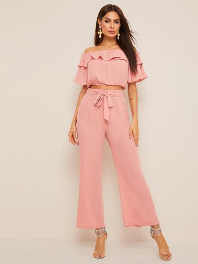 Ruffle Trim Crop Top & Wide Leg Belted Pants