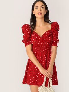 Surplice Neck Gathered Sleeve Dress