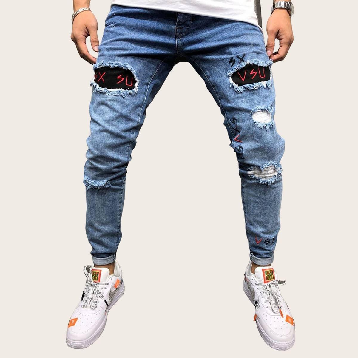 Blauw Casual Heren Jeans Gescheurd