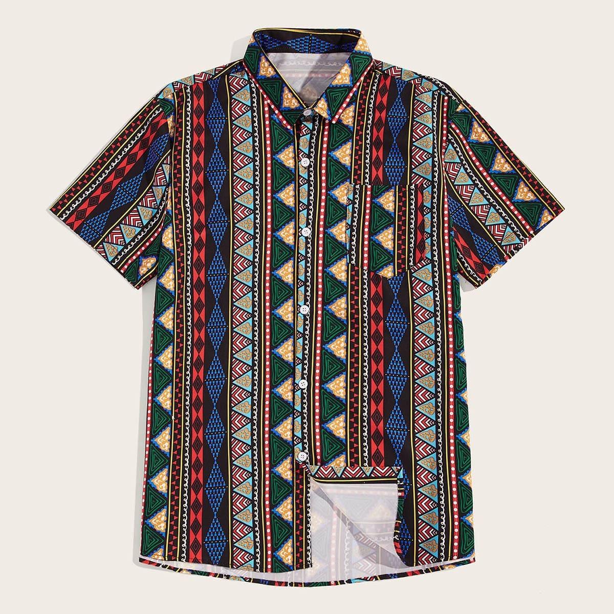 Veel kleurig Casual Tribal Overhemden voor heren